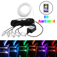 Universal Auto 6 Meter RGB Fiber Optic Atmosphere Lamps APP Control Car Interior Light For Dashboard Door Decorative Accessories