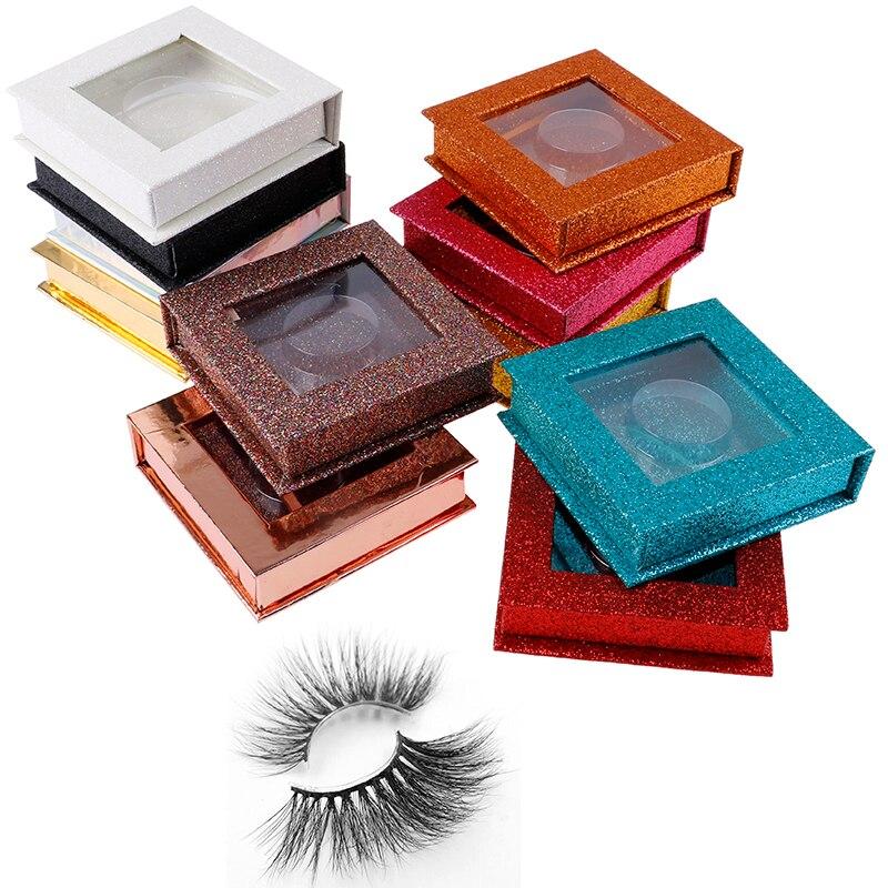 Square False Eyelash Packaging Box Glitter Fake 3d Mink Eyelashes Boxes Faux Cils Lash Strip Case Empty Girls Gift