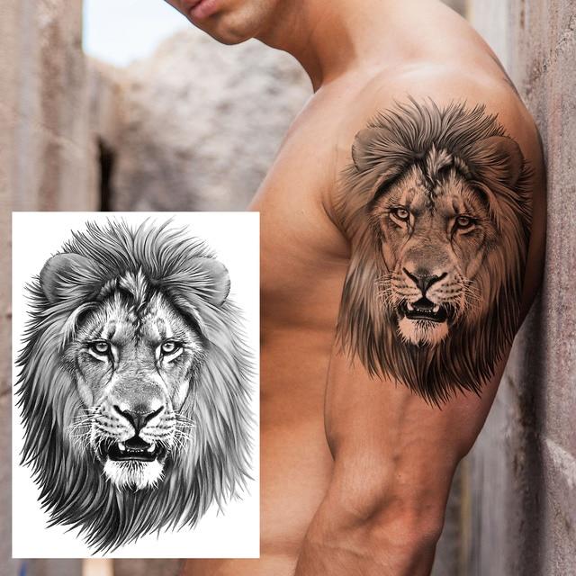 Big Black Tiger Tattoos Fake Men Wolf Leopard Tatoos Waterproof Large Beast Monster Body Arm Legs Tattoos Temporary Paper Cover 3