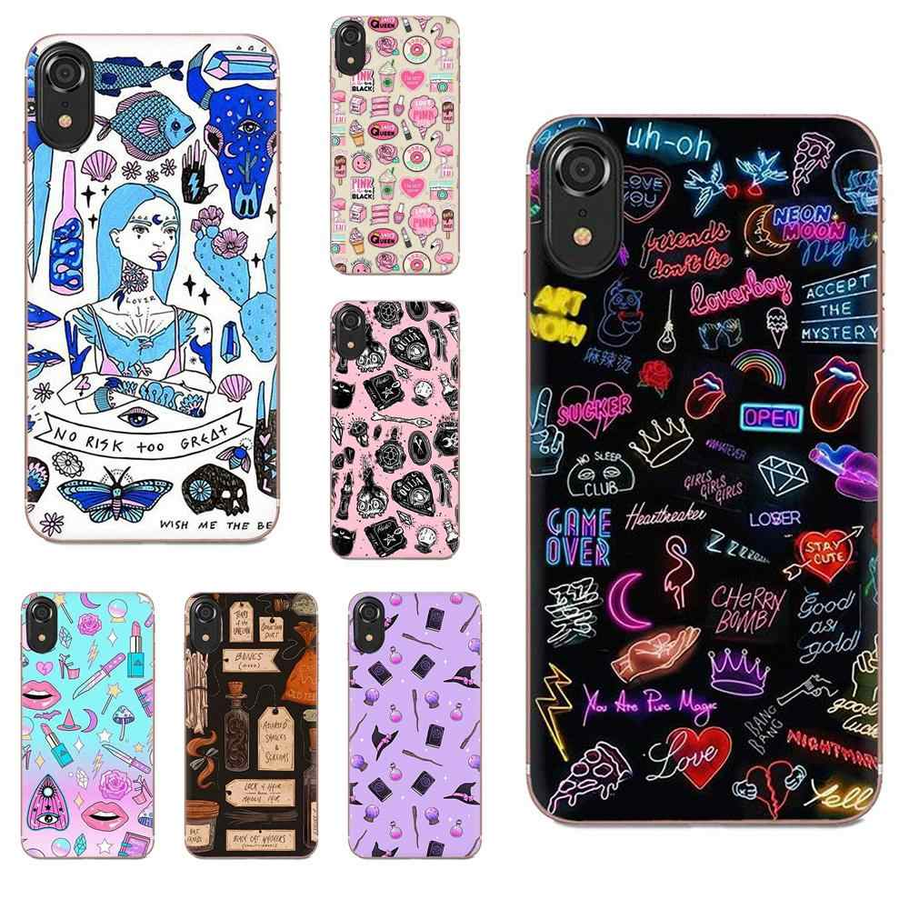 For Sony Xperia Z Z1 Z2 Z3 Z4 Z5 compact Mini M2 M4 M5 T3 E3 E5 XA XA1 XZ Premium TPU Cover Girly Pastel Witch Goth