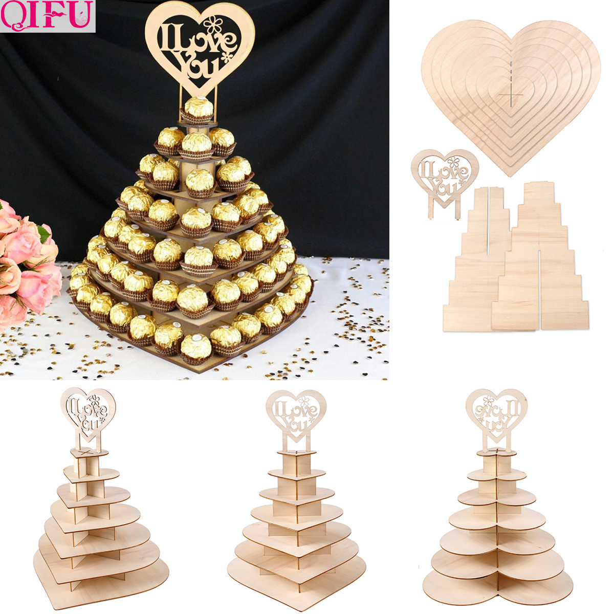 7-layer Wooden Chocolate Stand Decoration Wedding Event Donut Wall Stand Dount Party Doughnut Party Supplies Baby Shower decor