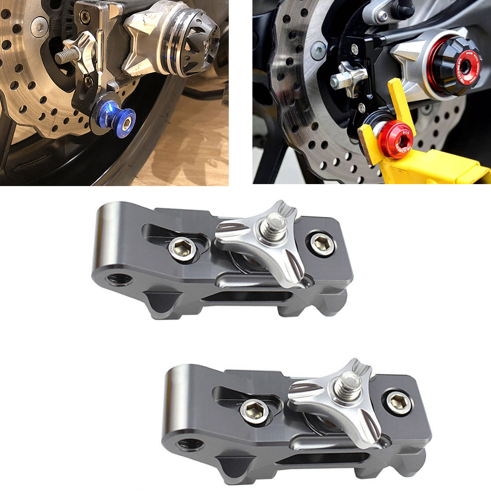 Ocamo Motorcycle Rear Axle Spindle Chain Adjuster Blocks for Yamaha FZ MT 07 FZ07 MT07 FZ-07 MT-07 2016 2015 red