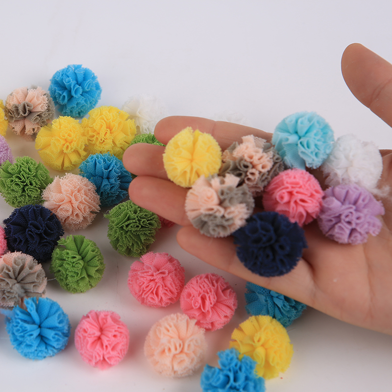 30Pcs 25mm Elastic Force Net cloth Ball DIY Scrapbook Paste Jewelry Headwear Brooch Crochet Toys Decor Jewelry Accessory Gift