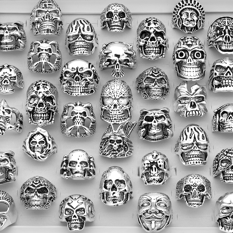 20pc/Lot Mixed Top-Quality Gothic Punk Assorted Wholesale Lots Skull Style Bikers Men'S Vintage Rings Party Gift