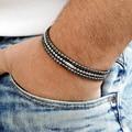 Новые браслеты из гематита 4 мм с натуральным камнем для мужчин, регулируемые ювелирные изделия черный браслет из бисера Homme