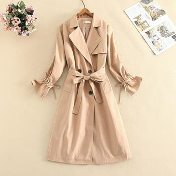 Fashion Women New Cotton Bow Tie Trench Coat Loose Long Double-Breasted Belt Khaki Lady Clothes Autumn Spring Outerwear Oversize casual style new spring autumn long women trench coat double breasted with belt loose coat lady outerwear fashion