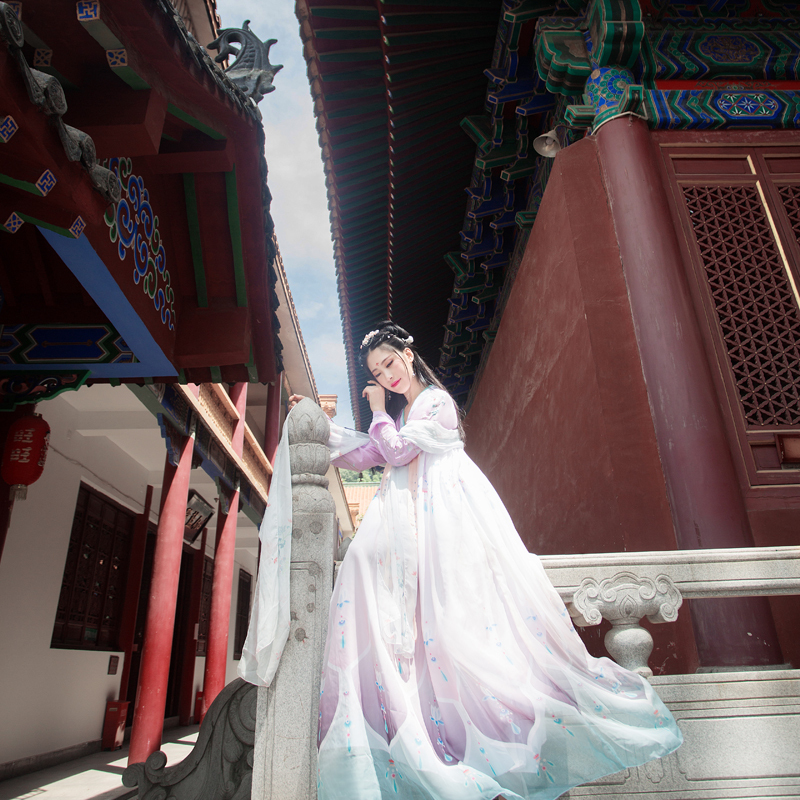 Ancient Female Han Dynasty Princess Dance Clothing Embroidery Girl Traditional Vintage Hanfu Dress Festival Outfits Performance