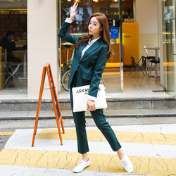 2 piece suit Retro autumn and winter womens pants suit Black Dark green blazer jacket and pants 2019 office wear womens suit