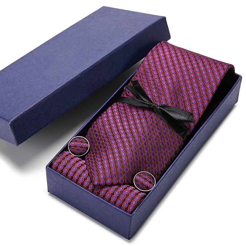 New Stripe Men Ties Handkerchief Cuffinks Set Necktie Paisley 100% Silk Jacquard Woven Neck Tie Wedding Party Necktie