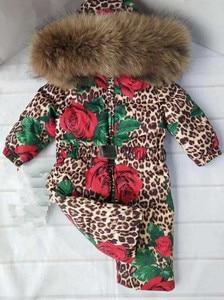 Image 4 - Bas combinaison pour enfants à capuche vêtements de neige plus épais chaud vêtements dextérieur véritable col de fourrure imprimé léopard enfants hiver doudoune Y1704