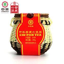 Chinatea 6166 liu pao hei cha liu bao envelhecido preto guangxi wuzhou chá escuro na cesta 250g