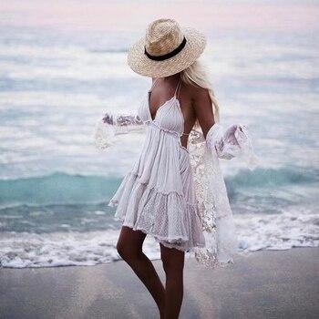 Bellflower Strapless Boho Summer Dress Women 2020  lace sexy dresses ball gown hippie bohemian Plus Size beach dress XS