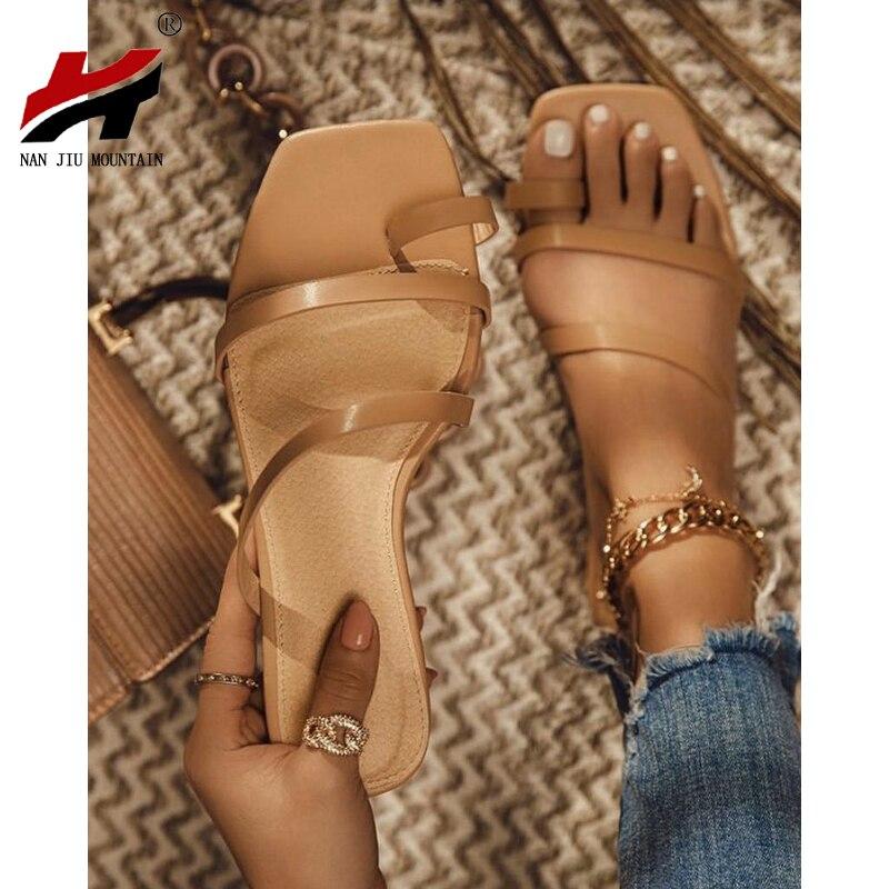 NAN JIU MOUNTAIN 2020 Summer Flat Sandals High Quality Women Slippers Open Tea Simple Sandals Women Beach Slippers Plus Size