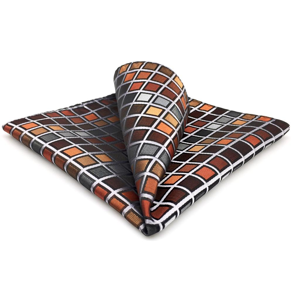 CH10 Grey Orange Checkes Mens Pocket Square Classic Fashion Wedding Handkerchief Hanky