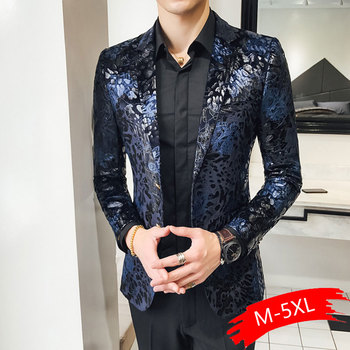 2020 Autumn And Winter Casual Business Style Large Size Men's Suit British Printing Gold Suit Trend