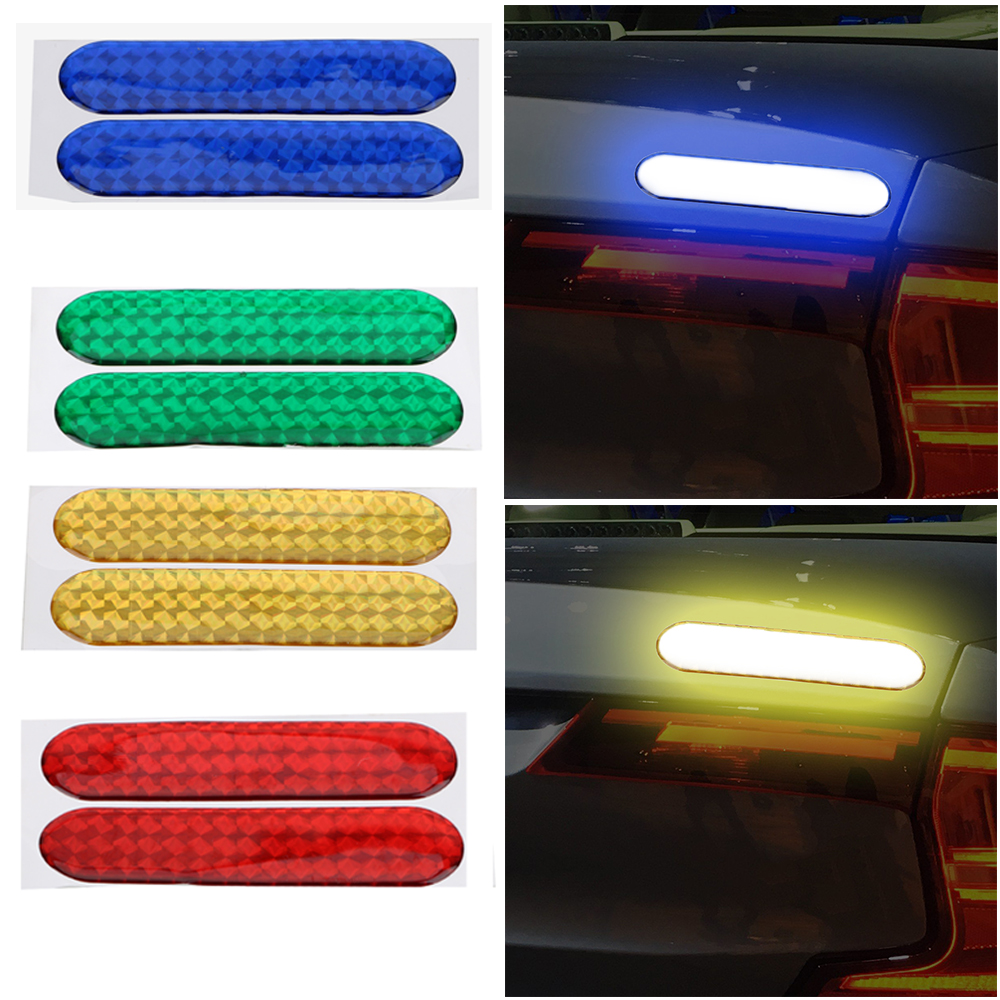 LEEPEE 2pcs Car Reflective Stickers Car Door Sticker Decal Reflective Strips 4 Colors Car-styling Warning Tape Safety Mark