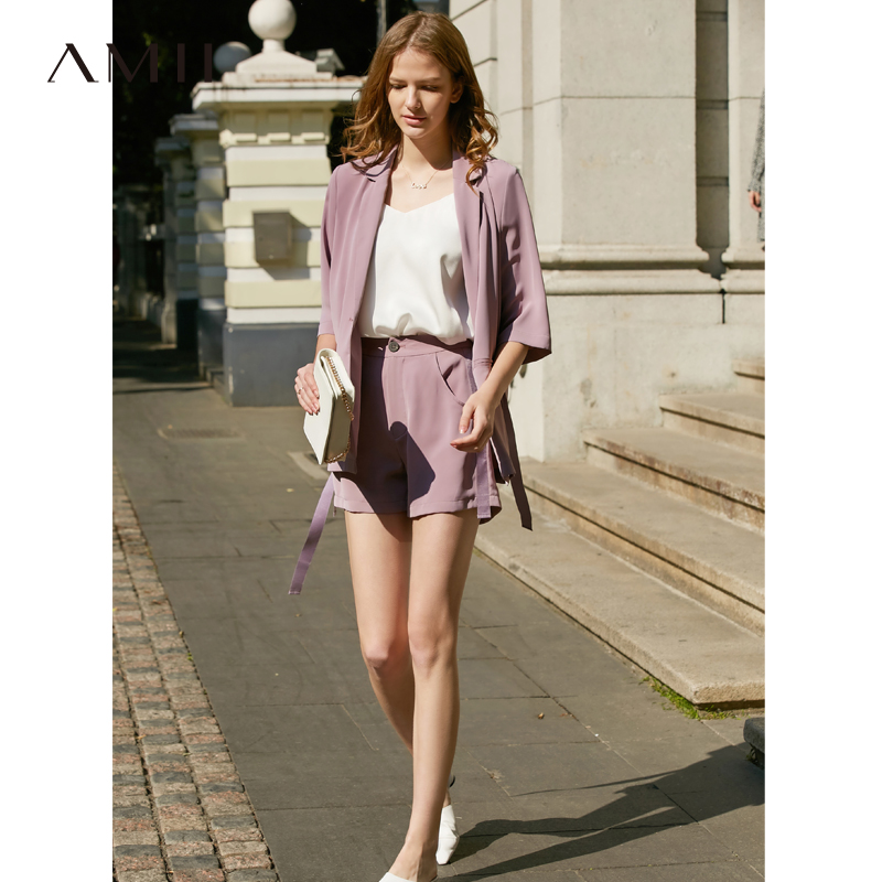 Amii Minimalist Spring Summer Suit Set Solid Lapel Short Sleeves Suit Coat Elasticated Waist Loose Shorts 11920043