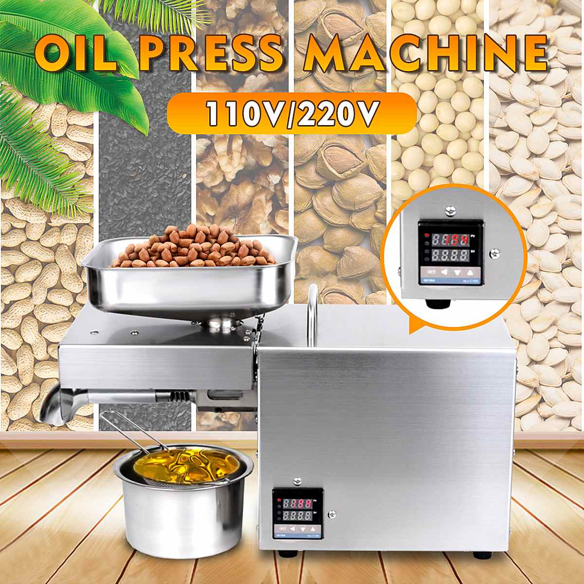 1500W Automatic Oil Press Machine Stainless Steel LED Digital Temperature Control Peanutss Sesame Nut Oil Extractor EU/US Plug
