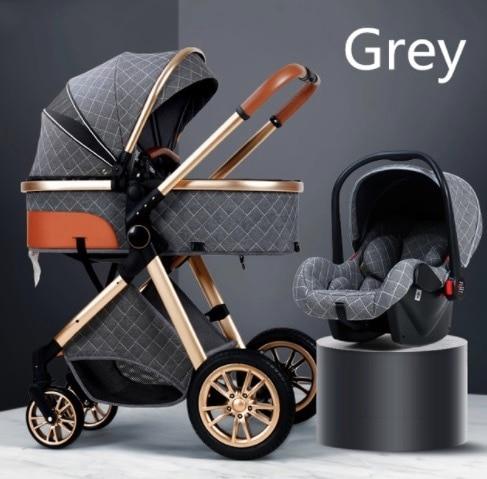 2021 novo carrinho de bebê 3 em 1 alta paisagem carrinho reclinável carrinho de bebê dobrável carrinho de bebê berço puchair recém-nascido 2
