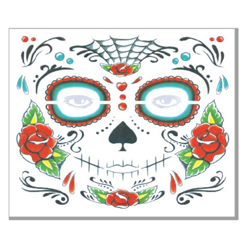 Halloween Viso Tatuaggi Temporanei Adesivi Giorno dei morti Del Cranio Dello Zucchero Floreale Scheletro Maschera Unisex Messicano Favore di Partito Forniture - 4