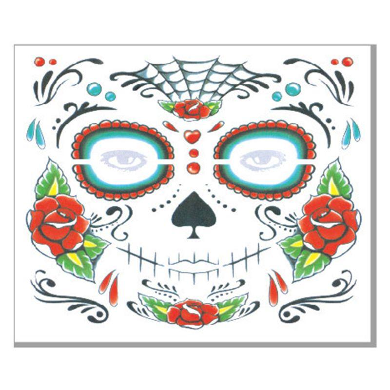 Halloween cara tatuajes temporales calcomanías Día de los muertos azúcar cráneo Floral esqueleto máscara Unisex mexicano fiesta Favor suministros - 4