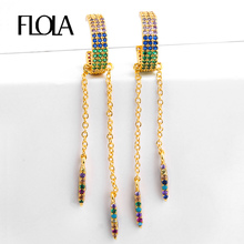 FLOLA Zircon Rainbow Long Chain Earring Hoop Woman 24K Gold Small Huggies CZ Fashion Jewelry orecchini arcobaleno ersq97