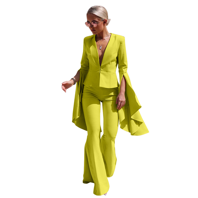 S-3XL Hot Sale Lapel Women Suits Fashion Irregular Large Swing Sleeves + Bell Pants Yellow Black Temperament Office Women Two-pi