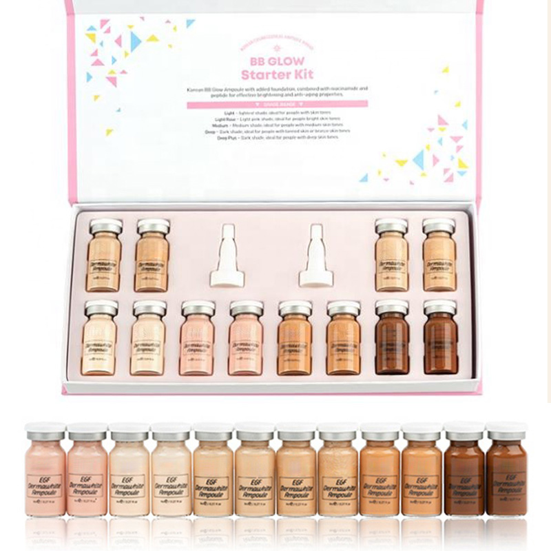 12pc/box Brand Derma White BB Glow Serum Ampoule With Added Foundation Niacinamide/peptide For Effective Brightening Anti-aging