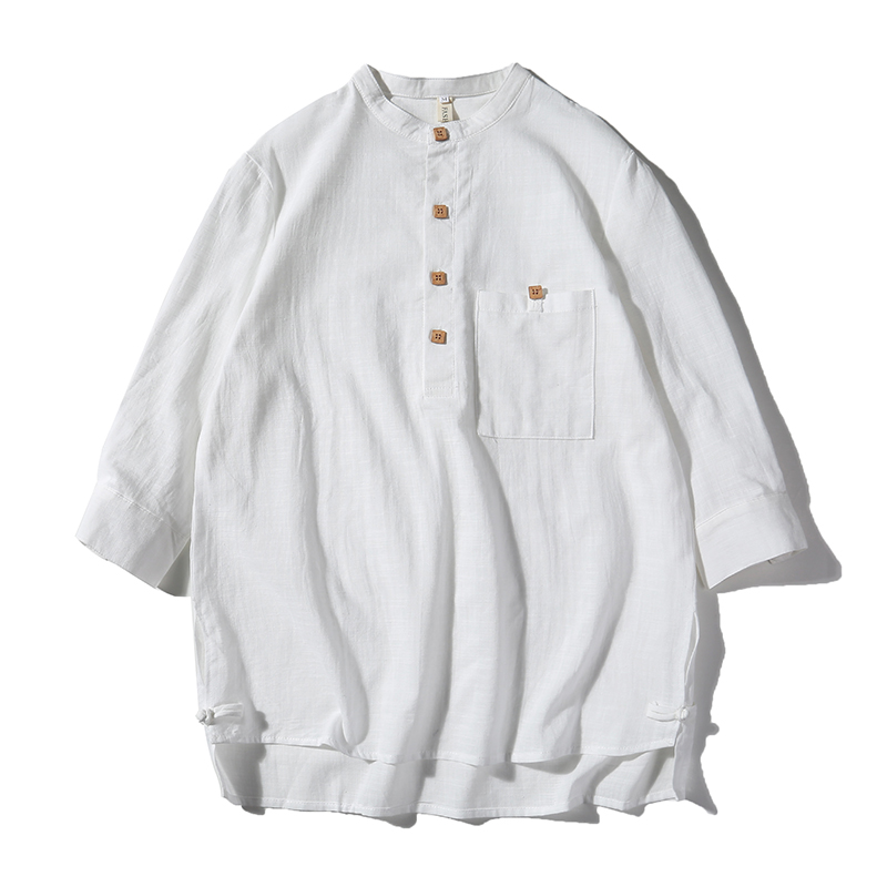 Vintage Men's Shirt Stand Collar Three Quarter Sleeve Button Cotton Linen Solid Color Blouse Chinese Style Leisure Men Shirts