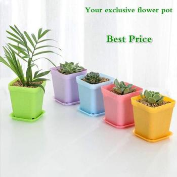 1pc Plant Cultivation Small Square Pot Gardening Tools Color Square Plastic With Seedling Pot Pot Flower Tray Fleshy 7cm T0I9 image