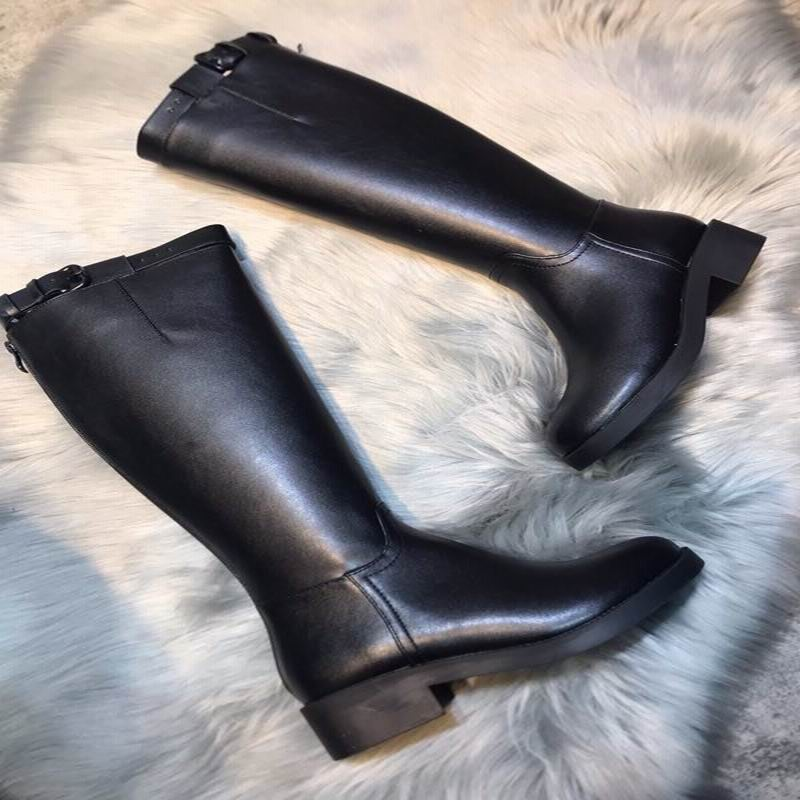 Knight boots female high tube long tube fashion 2019 autumn and winter new leather boots riding boots warm wild increased - 3