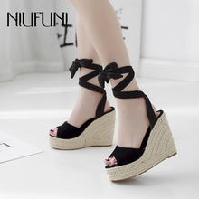 NIUFUNI Gladiator Sexy Peep Toe Wedge Women Sandals Platform Ankle Strap High Heels Casual Hemp Rope Woven Shoes For Women mabaiwan women summer boots denim sandals peep toe ankle botas high heels gladiator wedge shoes woman height increasing wedges