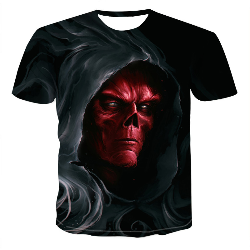 Summer Men T-shirts Casual O-neck Short Sleeve Tee Tops Hip Hop Style Clothes Fashion Streetwear Skull 3D T Shirt Male 2