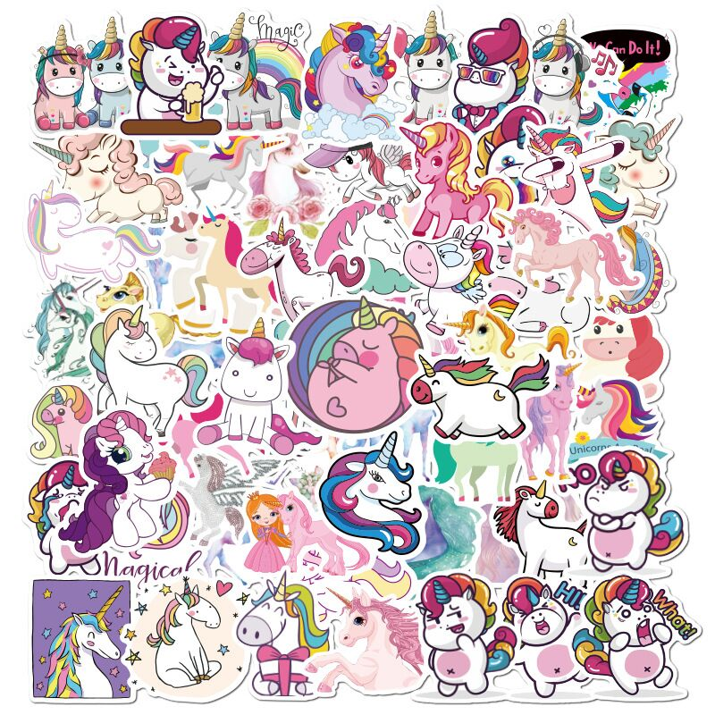 <font><b>50</b></font> Pcs Cute Animal Unicorn <font><b>Stickers</b></font> Waterproof Laptop Skateboard Guitar Suitcase Motorcycle Graffiti Girls Decal <font><b>Sticker</b></font> image