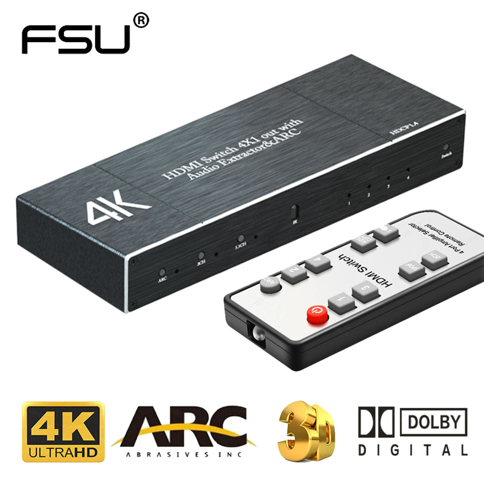 HDMI Matrix 4k 60Hz HDMI 2.0 Switcher Splitter 4 IN 1 OUT SPDIF +3.5mm Audio Extractor & ARC HDR HDCP 2.2 With IR Remote Adapter