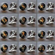 12 Constellation Glass Alloy Cufflinks Zodiac Sign Handmade glass Silver Suit Cuff Links Men Shirt birthday Gift Dropshipping
