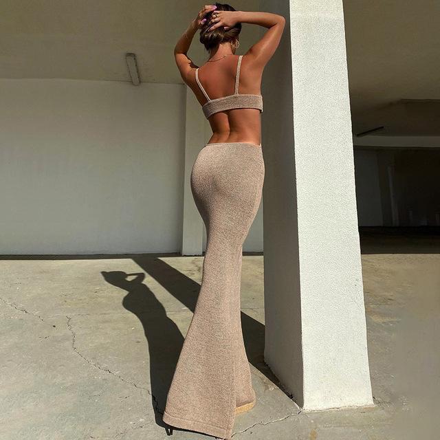 Summer Women Knitted Maxi Dresses 2021 Elegant Strap Cut Out Backless Vacation Long Dresses Sexy Hollow Out Bodycon Party Dress 5