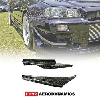 Coche-estilo para Nissan R34 Z-Tune de fibra de carbono de parachoques delantero Canard