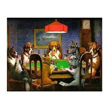 Собаки играющие в покер карты Искусство Холст Живопись стены Искусство Холст забавные картины Домашний Декор плакаты и принты водонепроницаемый