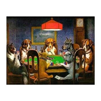 Psy gry w karty do pokera płótno artystyczne malarstwo ścienne płótno artystyczne śmieszne zdjęcia dekoracje ścienne do domu plakaty i druki wodoodporne