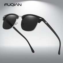 FUQIAN Classic Sunglasses Polarized Men Retro Square Rivet Sunglasses Women Male Driving Glasses UV400