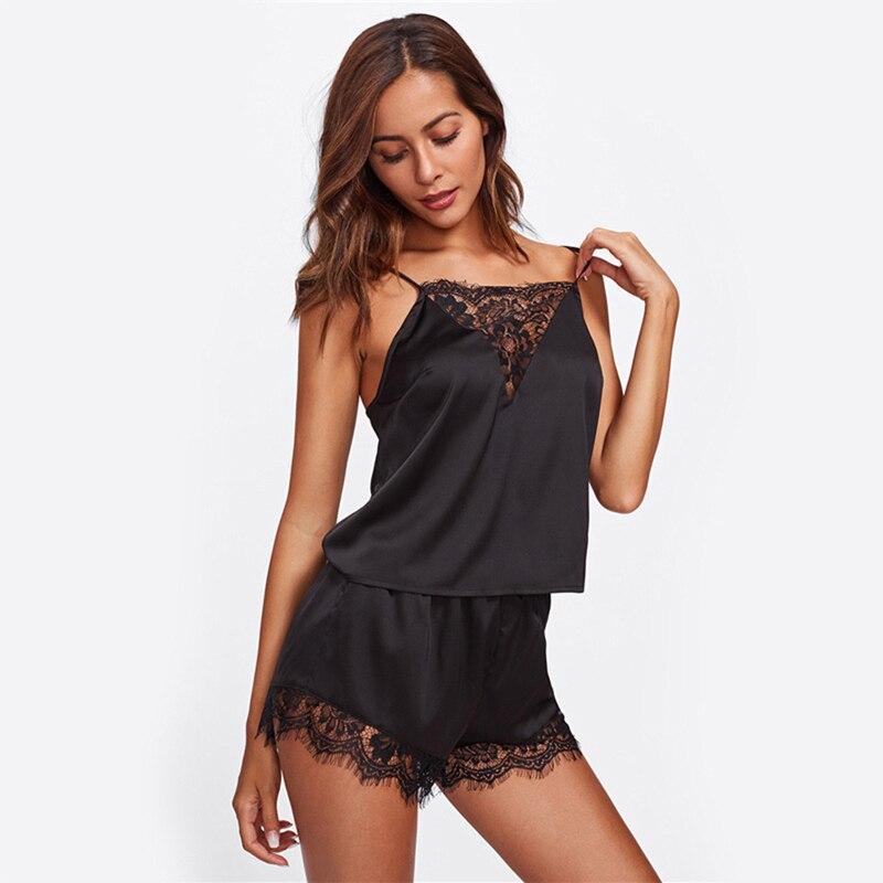 Pajamas Sets For Women Lace Satin Pijama Summer Nightwear Sexy Lingerie Pyjamas Women Homewear Tops+Shorts Hot Sale