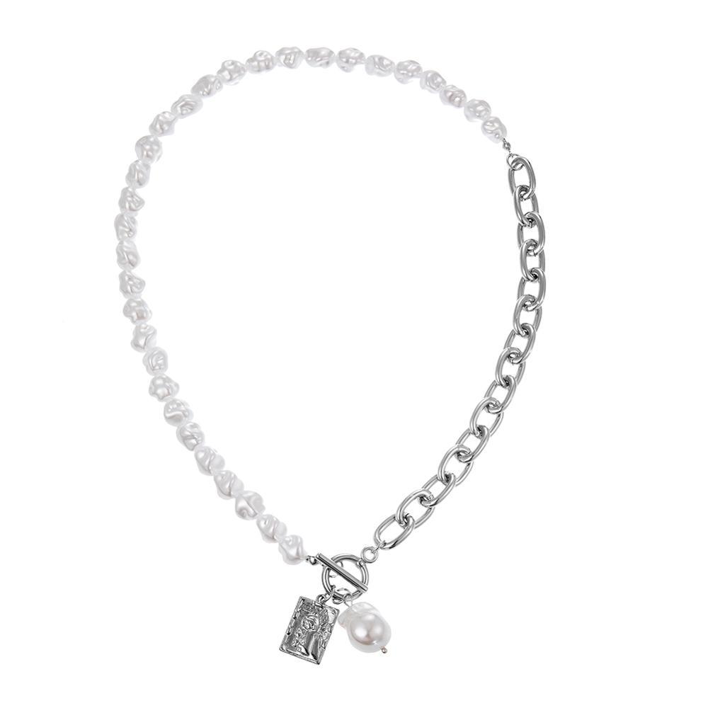 KMVEXO Vintage Baroque Irregular Pearl Lock Chains Necklace 2020 Geometric Aangel Pendant Love Necklaces for Women Punk Jewelry 3