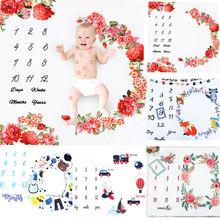 Пеленка для новорожденных девочек и мальчиков, одеяло-Ростомер, коврик для фотосъемки, реквизит для фотосъемки, ежемесячный рост, фото, мама, детские подарки для душа