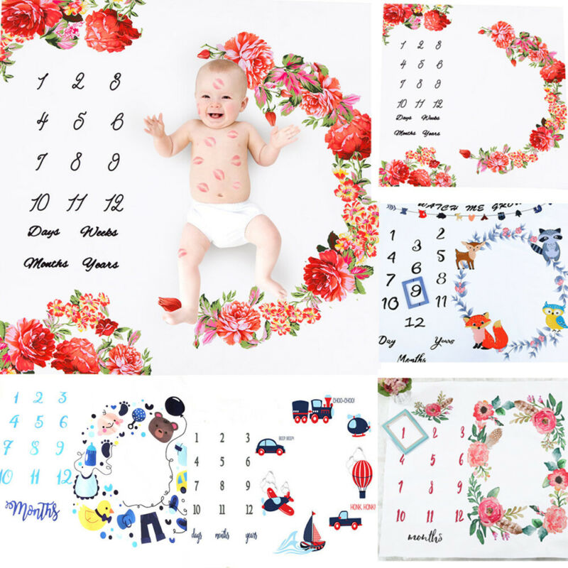 Newborn Baby Infants Milestone Blanket Mat Photography Prop Monthly Growth Gifts