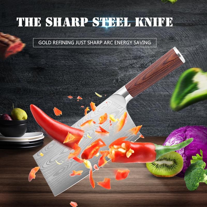 5, 7, 8 inchesнержавеющей стали нож шеф-повара ковка анти-прилипания острый Кливер рыба Овощной китайский кухонный нож бытовой приготовления