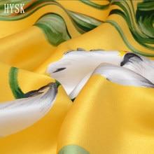 HYSK-tela satinada de seda 100original, estampado a mano, patrón de flores vintage, seda de soja mulbery, diseño floral increíble para robeC2417