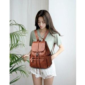 Image 3 - Fashion Women Backpack High Quality PU Leather Backpacks for Teenage Girls Female School Shoulder Bag Bagpack mochila Sac A Dos