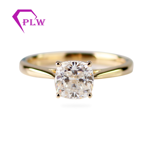 Customizd 14K Yellow Gold 9x9mm 3.5ct Cushion Old Europe Cut D Color VVS Moissanite 2mm Band Width Solitaire Ring Fast Shipping