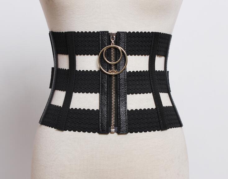 Women's Runway Fashion Hollow Out PU Leather Cummerbunds Female Dress Coat Corsets Waistband Belts Decoration Wide Belt R1806